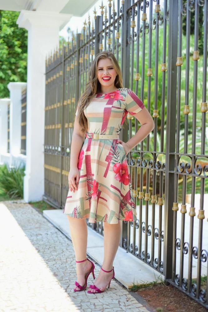 Vestido Rodado Estampado Geométrico com Flores Moda Evangélica 3