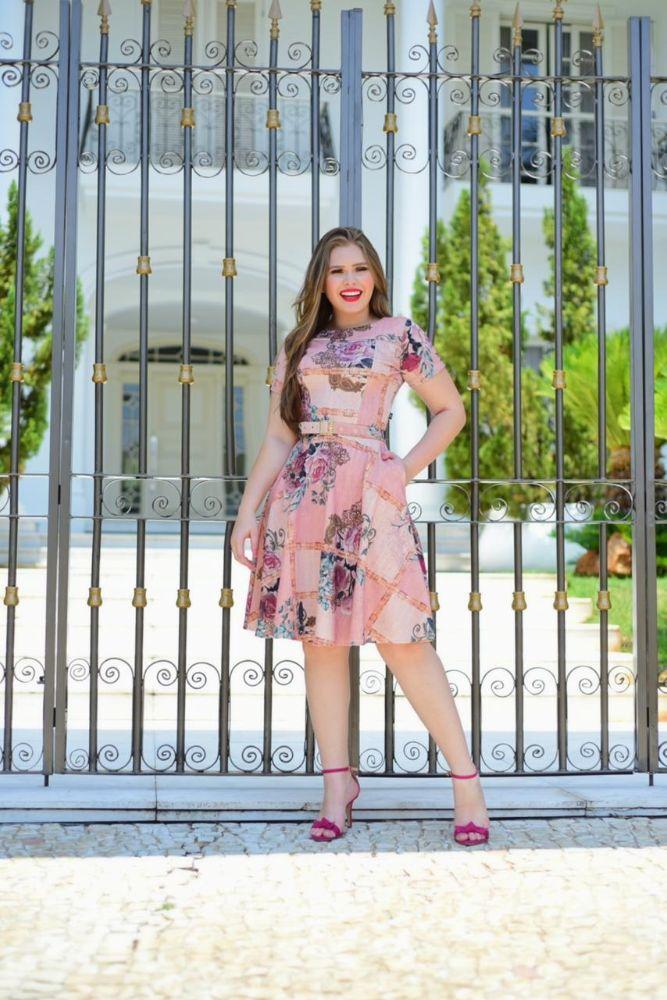 Vestido Rodado Estampado Floral Moda Evangélica 2