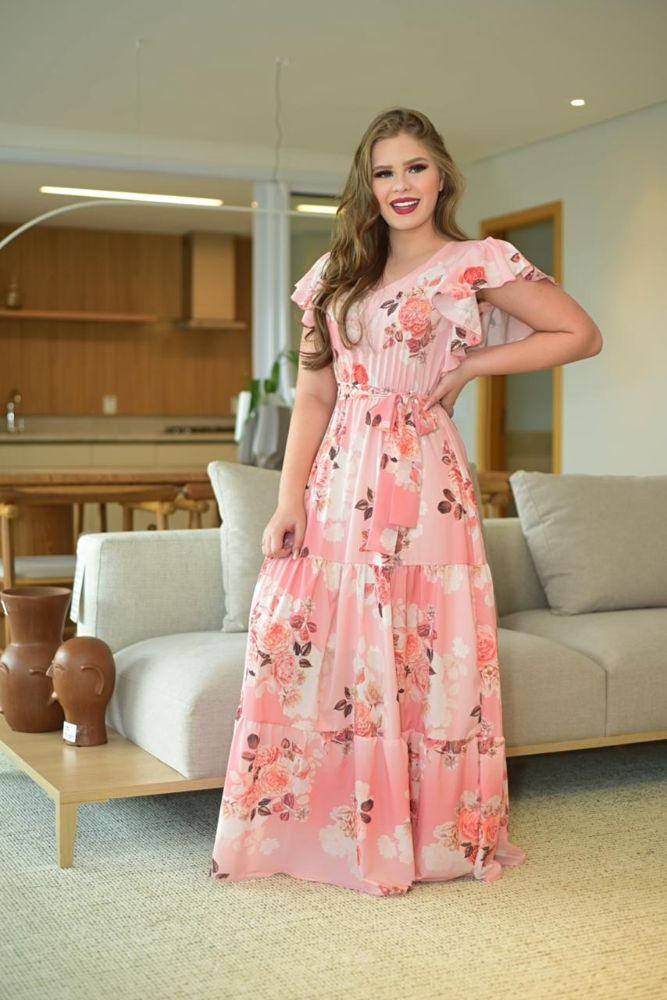 Vestido Max Midi Rose Estampado Moda Evangélica 2