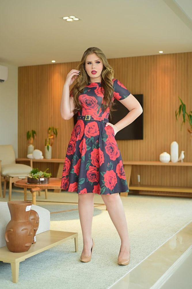 Vestido Rodado  Estampado Floral Vermelho Moda Evangélica 3