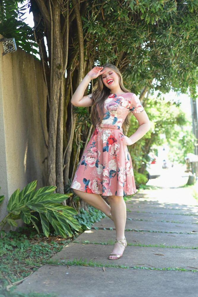 OEO7232 - Vestido Rodado  Estampado Floral  Moda Evangélica