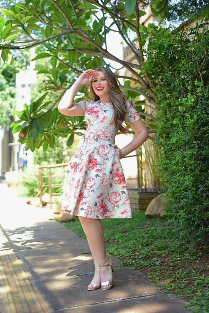 IBX4013 - Vestido Rodado  Estampado Floral Moda Evangélica